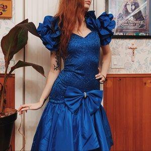 Vintage Zum Zum 80s Puff Sequin Ruffle Prom Dress